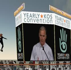 Howard Dean keynote at YKos in Second Life