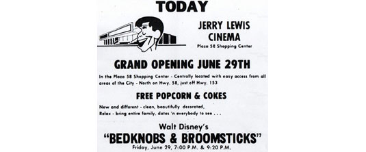 jerry lewis cinemas opening day ad.